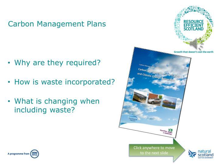 Carbon management plans