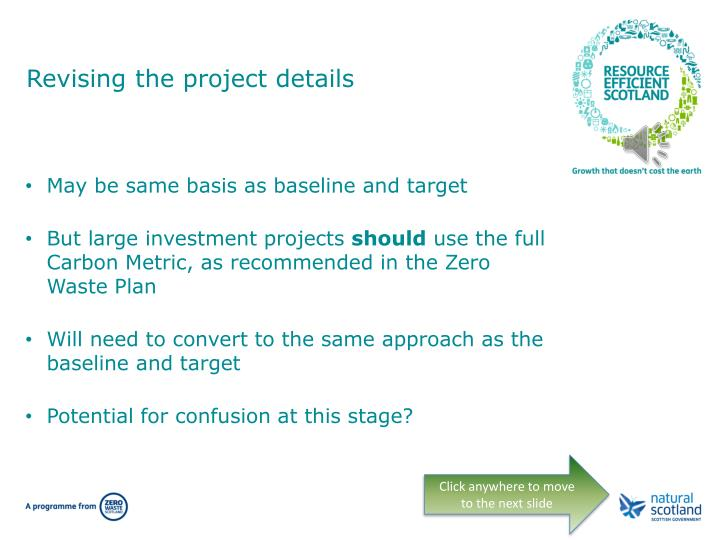 Revising the project details