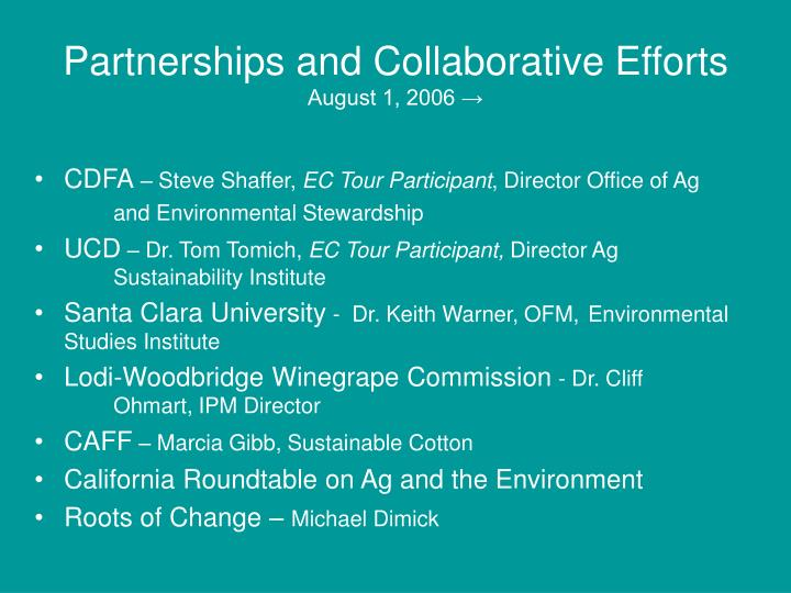 Partnerships and Collaborative Efforts