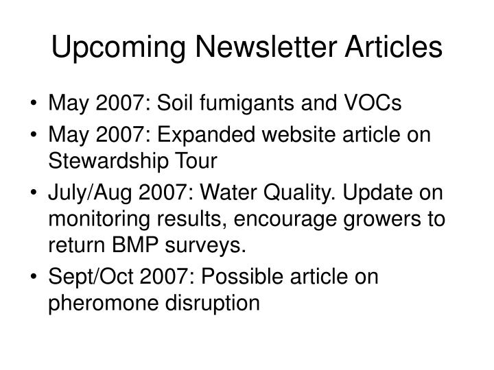 Upcoming Newsletter Articles