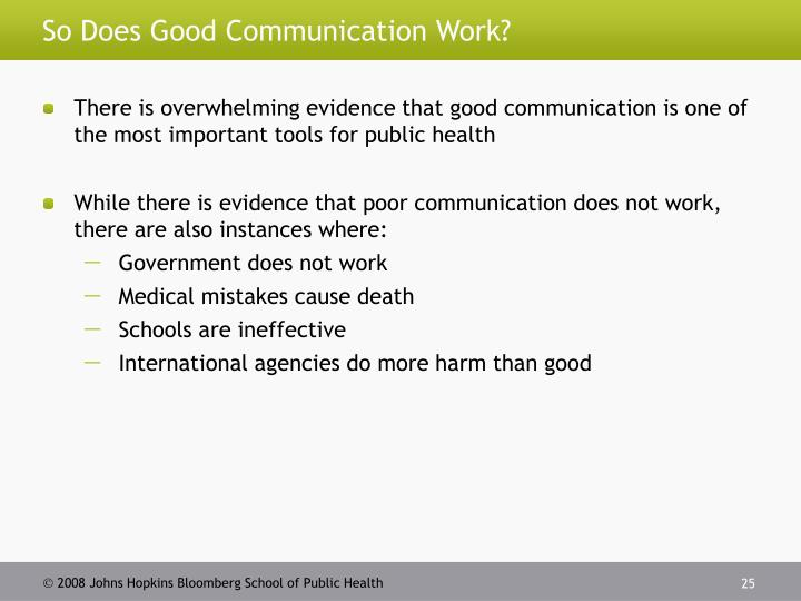 So Does Good Communication Work?