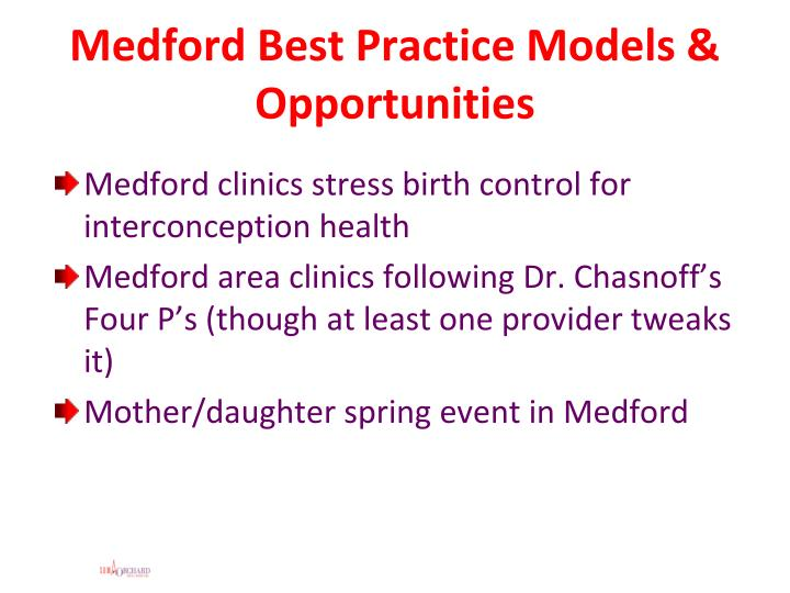 Medford Best Practice Models & Opportunities