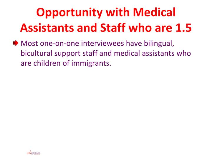 Opportunity with Medical Assistants and Staff who are 1.5