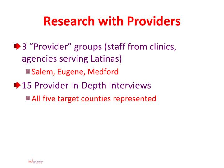 Research with Providers