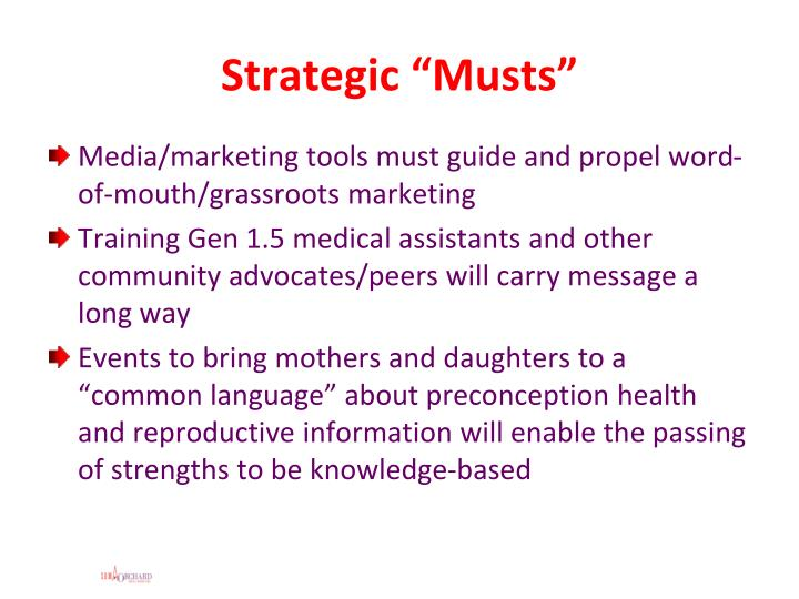 "Strategic ""Musts"""