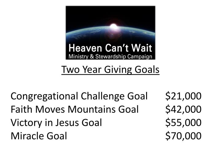 Two Year Giving Goals