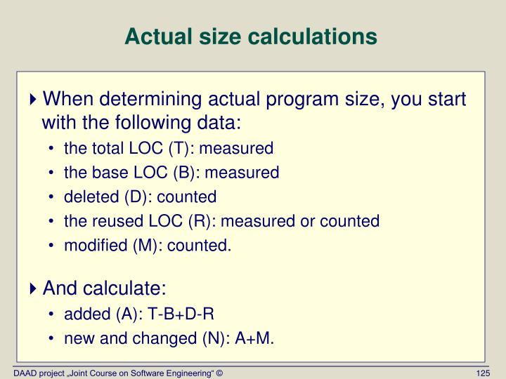 Actual size calculations