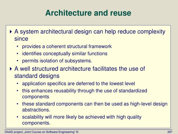 Architecture and reuse