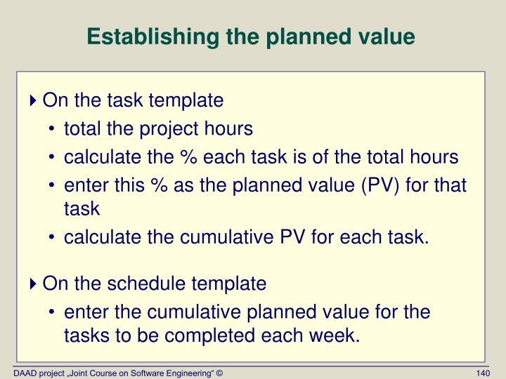 Establishing the planned value