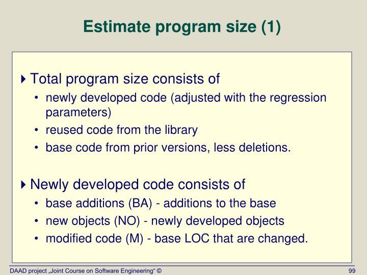 Estimate program size (1)