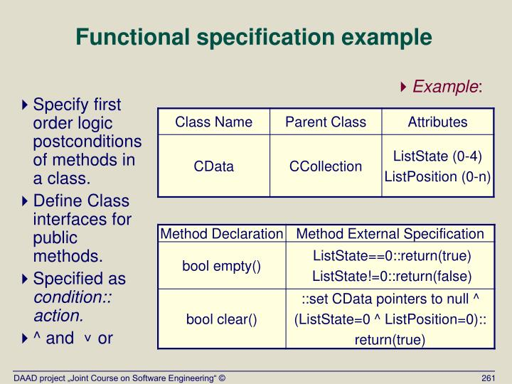 Functional specification example