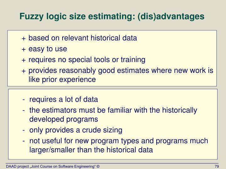 Fuzzy logic size estimating: (dis)advantages