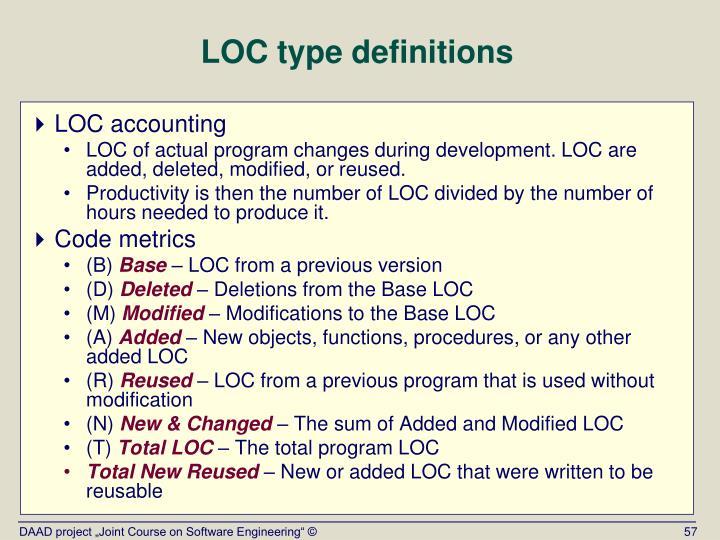 LOC type definitions