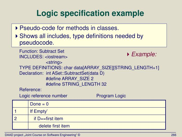 Logic specification example