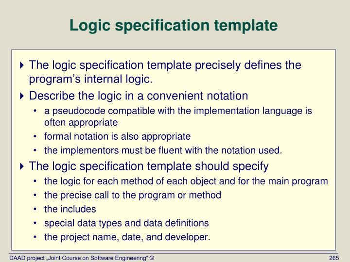 Logic specification template