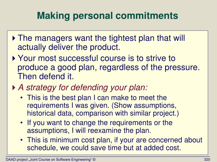 Making personal commitments