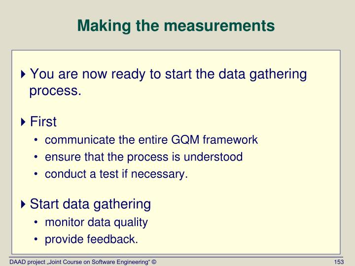 Making the measurements