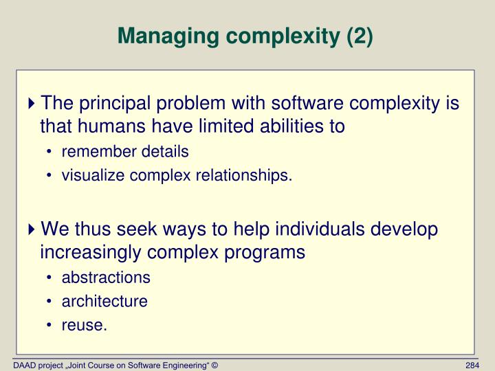 Managing complexity (2)