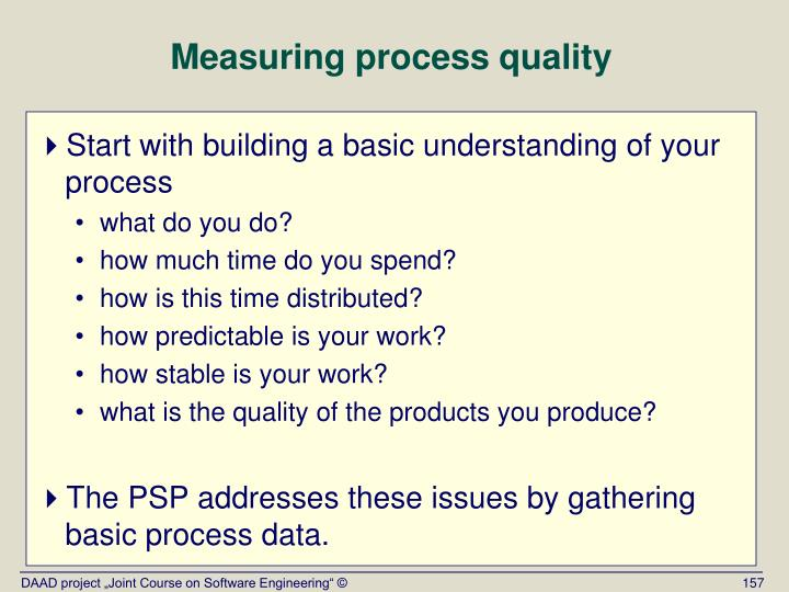 Measuring process quality