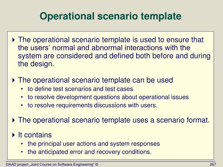 Operational scenario template
