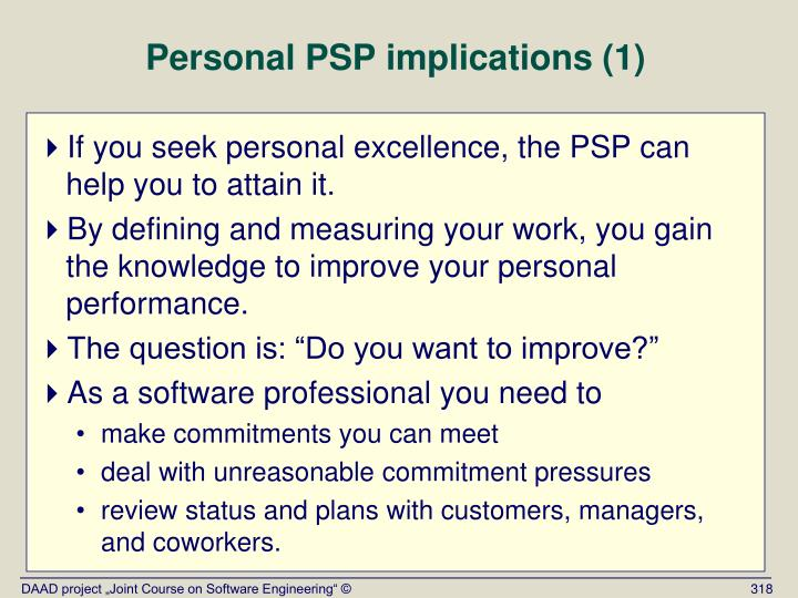 Personal PSP implications (1)