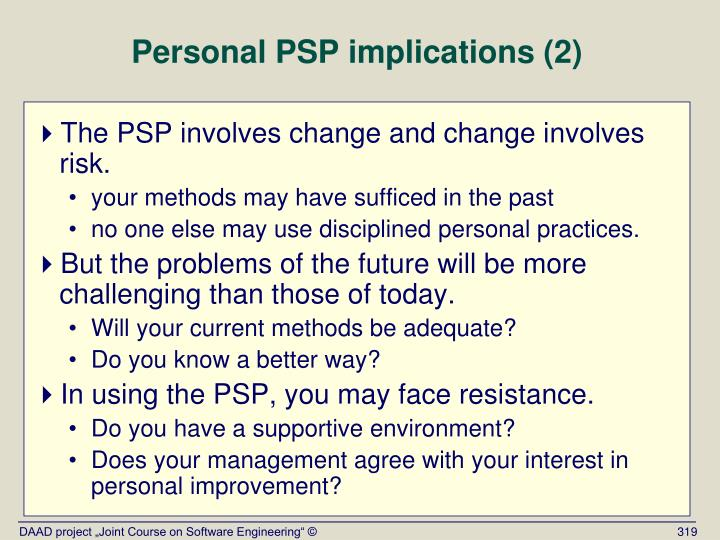 Personal PSP implications (2)