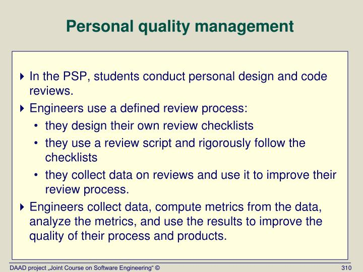 Personal quality management