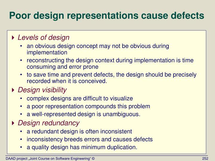 Poor design representations cause defects