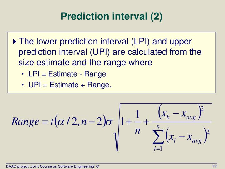 Prediction interval (2)