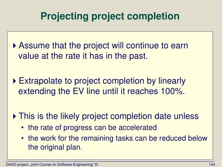 Projecting project completion