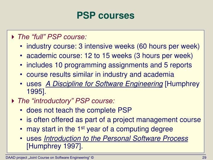 PSP courses