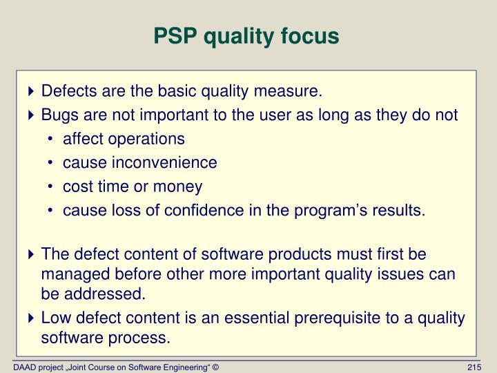 PSP quality focus