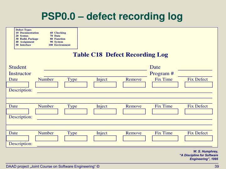 PSP0.0 – defect recording log