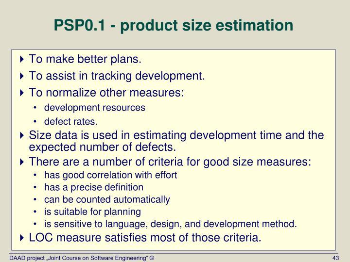 PSP0.1 - product size estimation