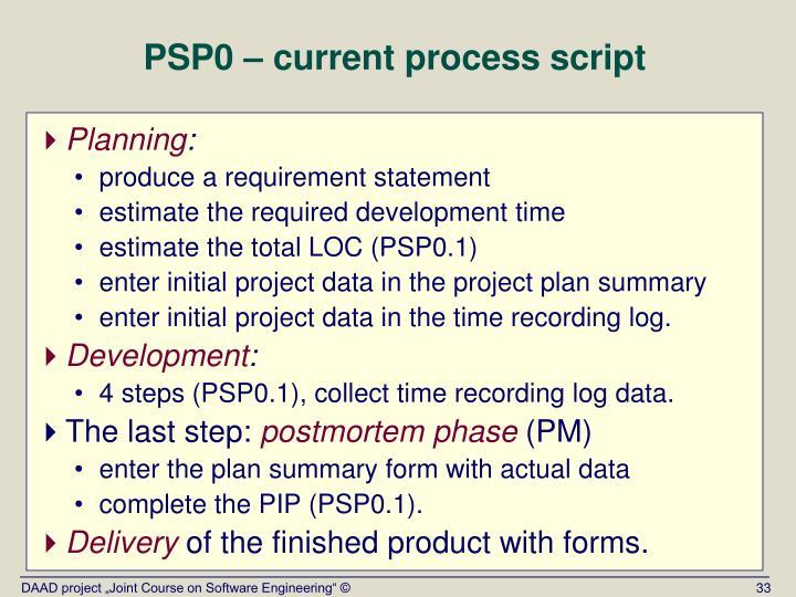 PSP0 – current process script