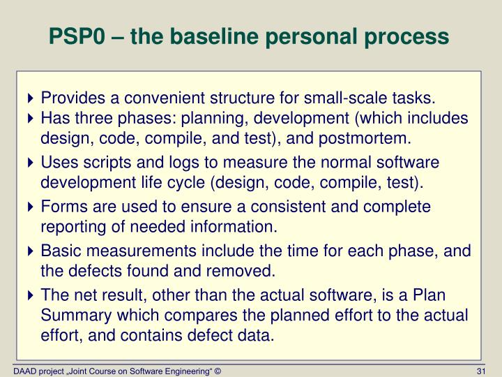 PSP0 – the baseline personal process