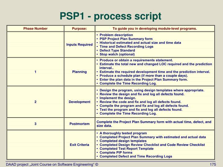PSP1 - process script