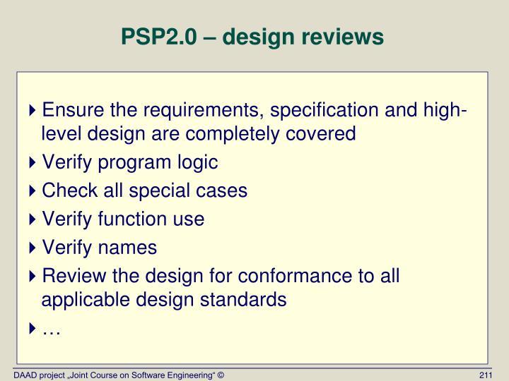 PSP2.0 – design reviews