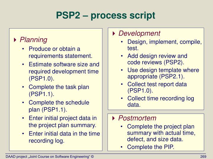 PSP2 – process script