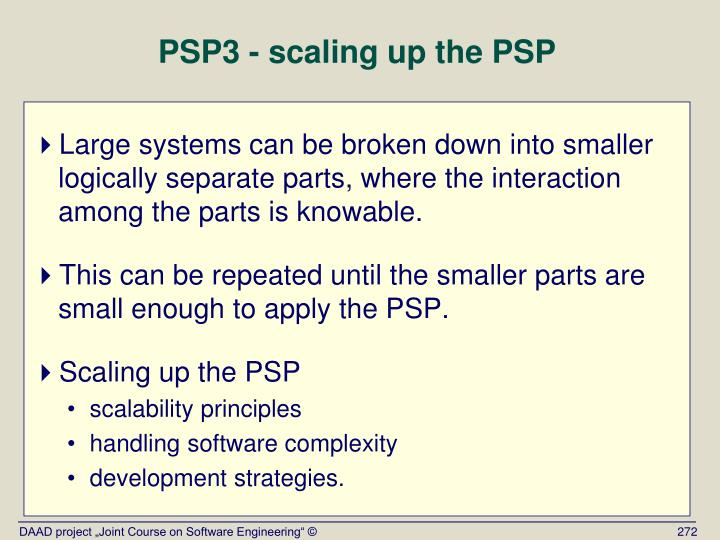 PSP3 - scaling up the PSP