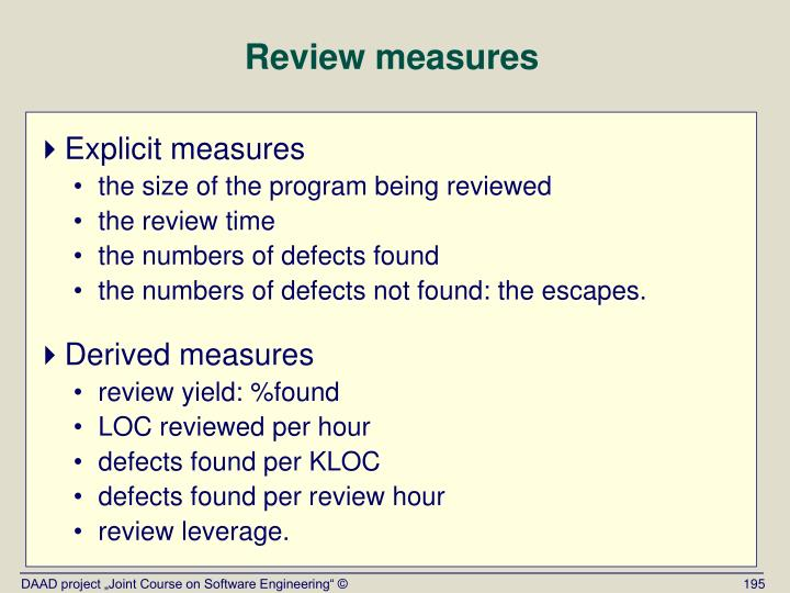 Review measures