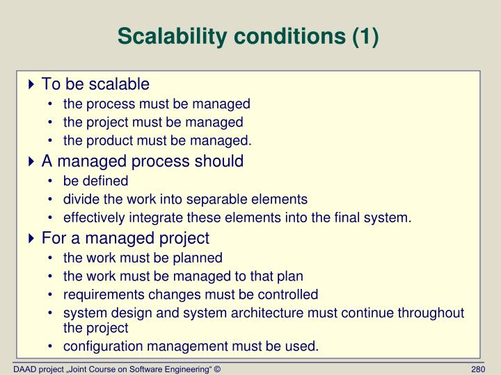 Scalability conditions (1)
