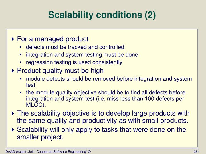 Scalability conditions (2)