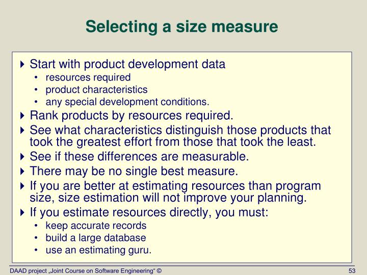 Selecting a size measure