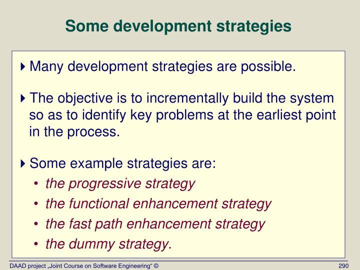 Some development strategies