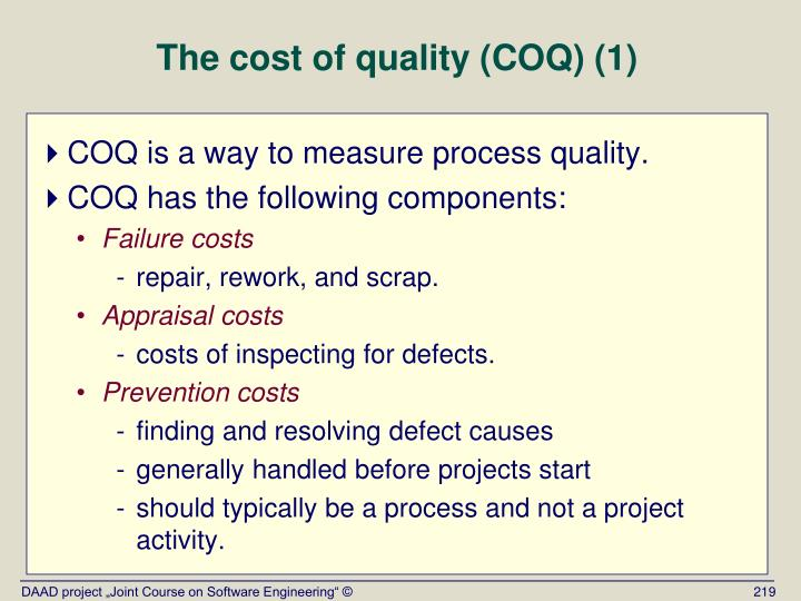 The cost of quality (COQ) (1)