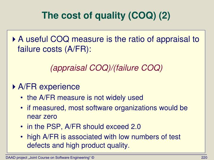 The cost of quality (COQ) (2)