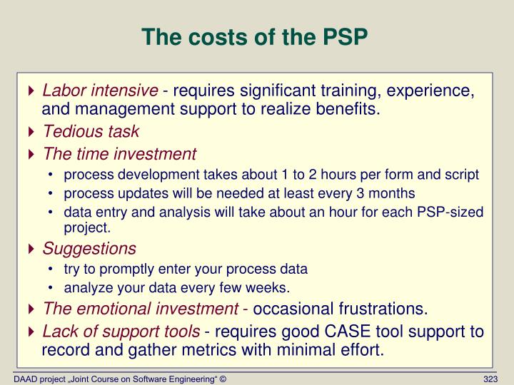 The costs of the PSP