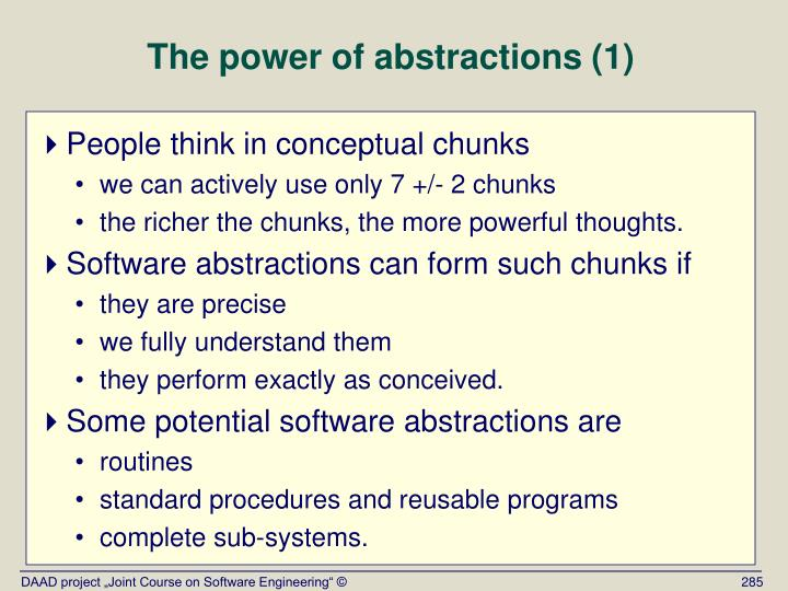The power of abstractions (1)