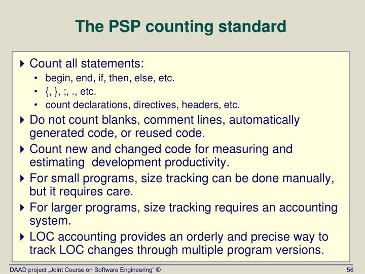 The PSP counting standard
